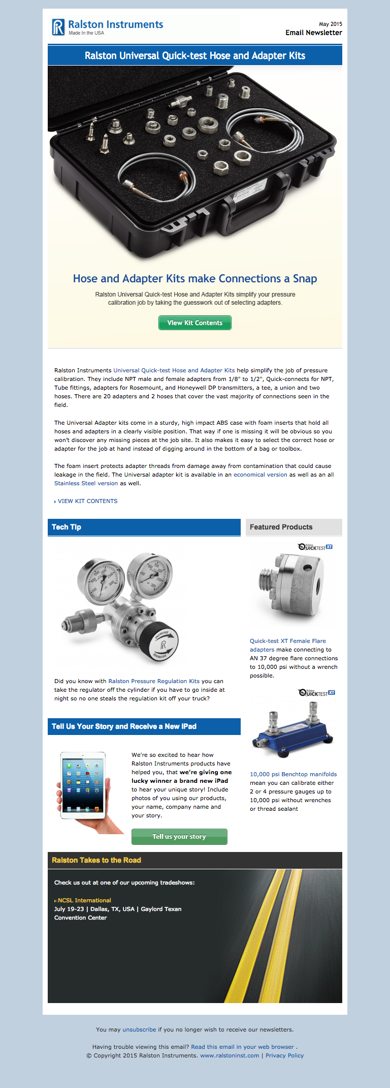 Ralston Instruments Newsletter - iPad view