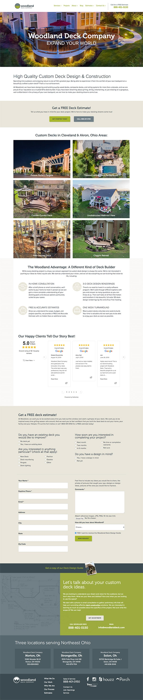 landing page design construction companies